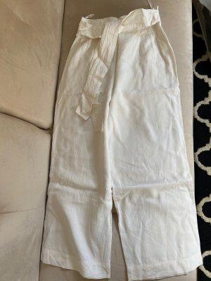 Zara Lniane spodnie biały