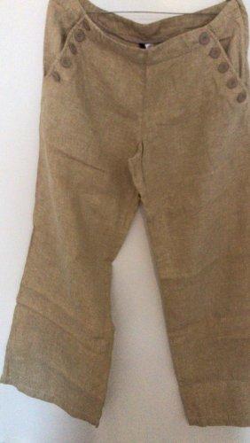 0039 Italy Pantalón de lino beige-camel