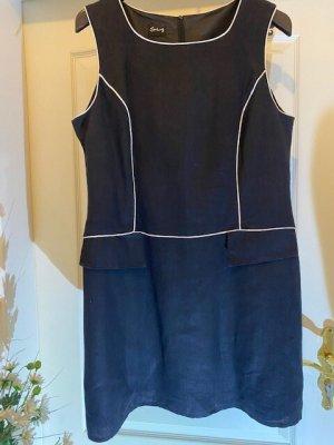 Swing Mini Dress black-white linen