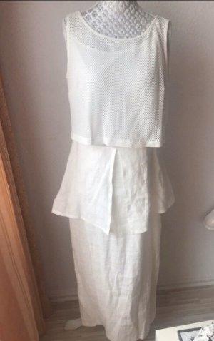 Apange Pinafore dress natural white-white linen