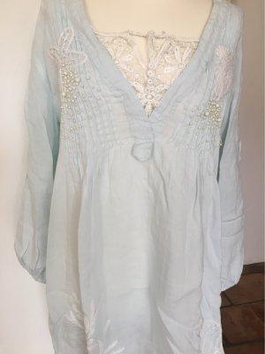 Robe tunique blanc cassé-bleu clair