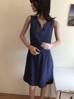 Leinenkleid Jeans blau Leinen Kleid 34-36 Retro Stil Sommerkleid Etuikleid Jeanslook