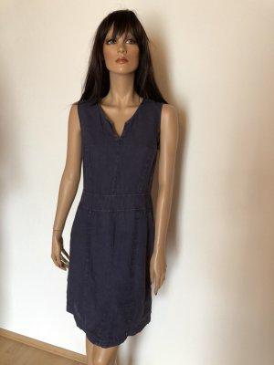 Leinenkleid Jeans blau Leinen Kleid 34 Retro Stil