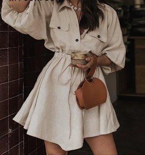 Leinenkleid, mini shirt beige