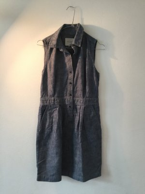 Leinenkleid mit Taschen und Knöpfen im Jeanslook Jeanskleid
