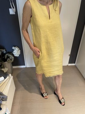 Loro Piana Robe à franges jaune foncé tissu mixte