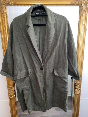 Zara Oversized jas bos Groen-khaki