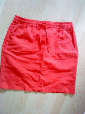 Blue Motion Falda de lino rojo claro tejido mezclado