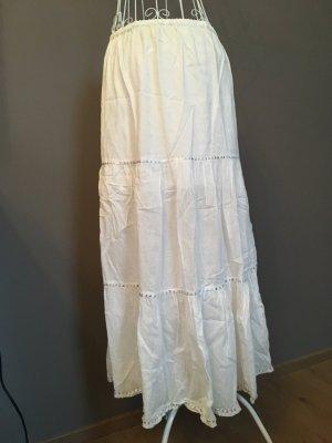Falda de lino blanco-color plata