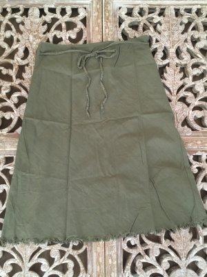 Falda de lino verde grisáceo Lino