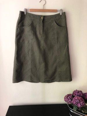 H&M Jupe en lin vert olive-gris brun lin