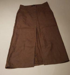 H&M Falda de lino marrón