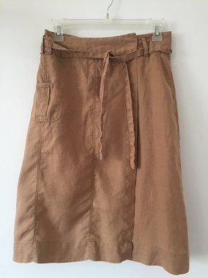 Leinenrock mit aufgesetzten Taschen Vintage Wickelrock 34 Cargorock