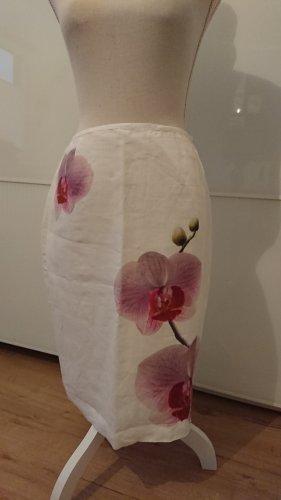 Leinenrock mit Orchideenprint