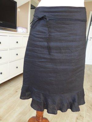 H&M Falda de lino negro Lino