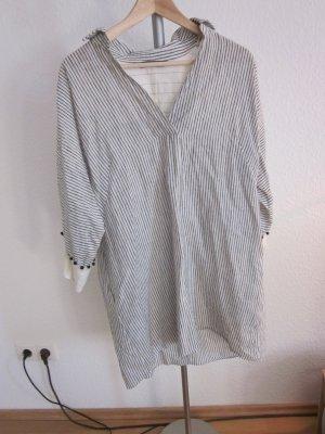 Zara Basic Shirtwaist dress white-silver-colored linen