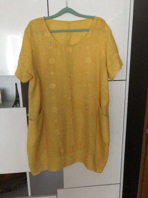 0039 Italy Sukienka z rękawem balonowym żółty