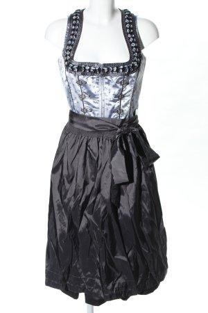 Lekra Dirndl nero-blu motivo floreale stile classico