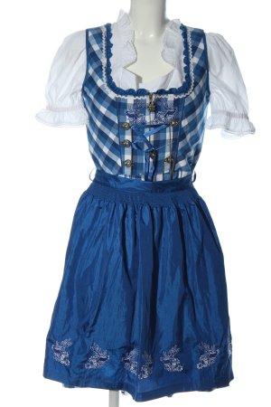 Lekra Dirndl bleu-blanc motif à carreaux élégant