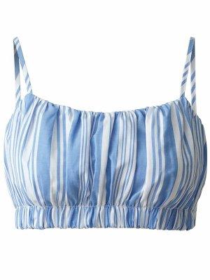 H&M Top recortado blanco-azul aciano Lino