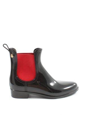 Lemon Jelly Wellington laarzen zwart-rood casual uitstraling