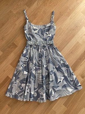 Lena Hoschek Sukienka z halką stalowy niebieski-biały