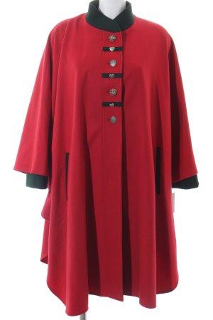 Leni Modelle Fleecemantel rot-dunkelgrün klassischer Stil