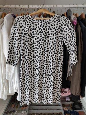 Leo Animal Print Kleid Minikleid tupfen schwarz weiß