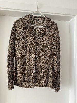 Pull & Bear Koszulowa bluzka czarny-jasnobrązowy