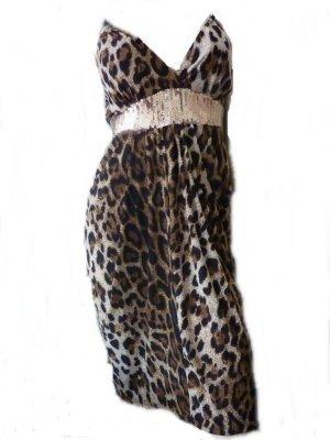 Leo Kleid Leopardenmuster Animal Print Dress mit Paillettengürtel 38
