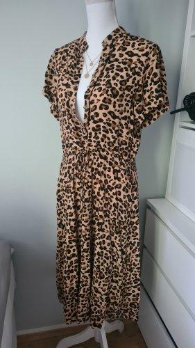 Leo Leopard Kleid Maxikleid Midikleid M 38 Braun Beige Hippie