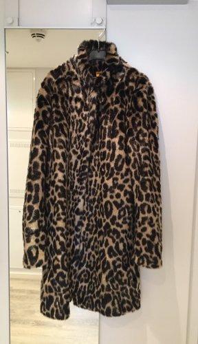 Manteau de fourrure noir-beige fourrure artificielle