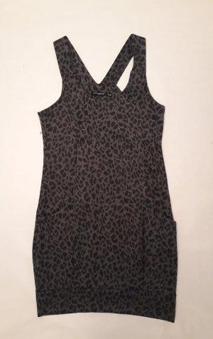 Leo Strickkleid in grau / dunkelgrau Hängerchen Kleid Leopardenmuster Leoprint Gr. 36, Neu