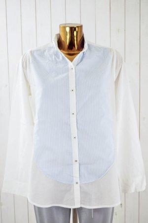LEON&HARPER Damen Bluse Baumwolle Weiß Blau-Weiß Gestreift Gr.M
