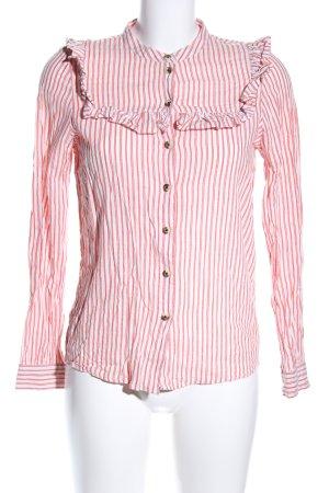 Leon & Harper Langarm-Bluse rot-weiß Streifenmuster Business-Look
