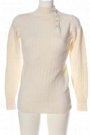 Leonard w. Cotton Pull en cashemire crème motif rayé style décontracté