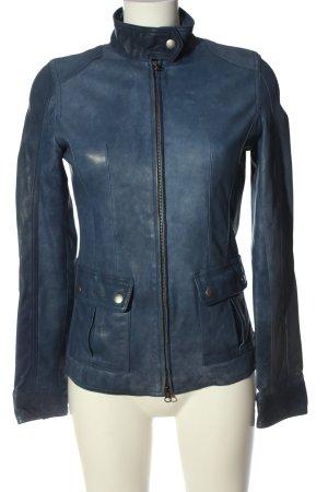 Leonardo Leather Jacket blue flecked casual look