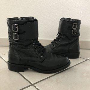 Leone Boots Gr 36 schwarz Leder Stiefel springerstiefel
