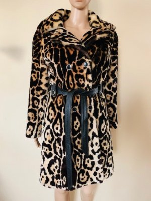 Leopard faux fur anazing coat with real leather