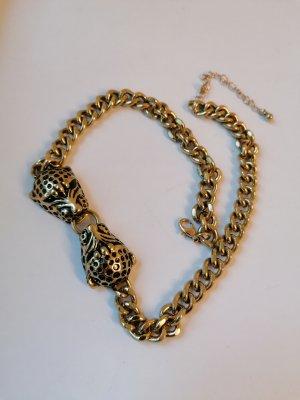 Leopard, Statementkette, Kette, Vintage, Alt, Gliederkette, Panther, Gold, schwarz