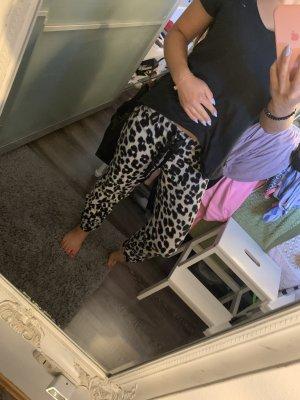 Leoparden fleecehose Fell Plüsch homewear schlafanzughose Jogginghose Leo Print Muster grau rosa schwarz