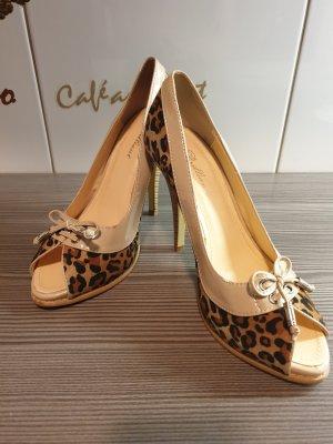 Leoparden-Look Peeptoe-Pumps | High Heels | Beige