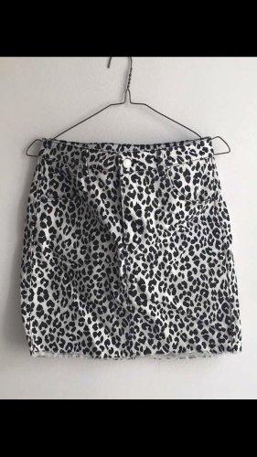 Leoparden Rock schwarz weiß H&M