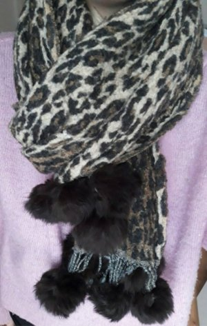 Woolen Scarf grey brown-brown
