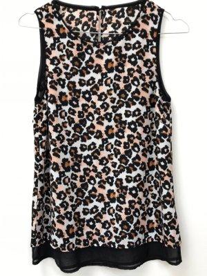 Leopardenbluse, XS, 32/34, nagelneu, spannender Rückenausschnitt, Rückendetail, Animalprint, Shirt, T-Shirt, Chiffon