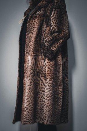 Vintage Futrzany płaszcz Wielokolorowy