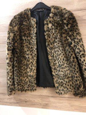Futrzana kurtka czarno-brązowy-brązowy