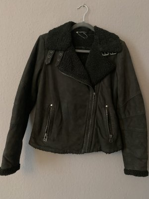 Blue Monkey Leather Jacket black-silver-colored leather