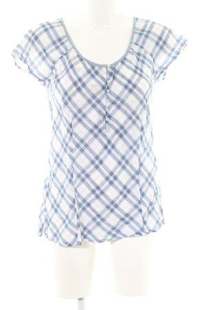 Lerros Blouse sans manche bleu-blanc motif à carreaux style décontracté