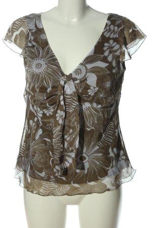 Lerros Blouse à manches courtes brun-blanc imprimé allover style décontracté